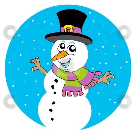 Cartoon snowman stock vector clipart, Cartoon snowman on white background - vector illustration. by Klara Viskova