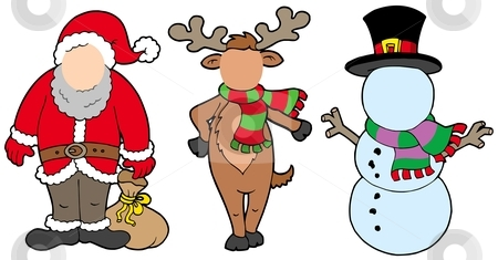 Christmas characters without face stock vector clipart, Christmas characters without face - vector illustration. by Klara Viskova