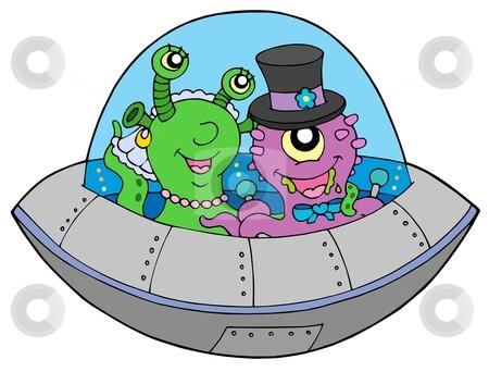 UFO wedding stock vector clipart, UFO wedding on white background - vector illustration. by Klara Viskova