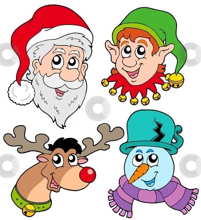 Christmas faces collection 2 stock vector clipart, Christmas faces collection 2 - vector illustration. by Klara Viskova