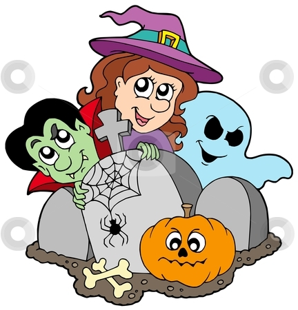 Cemetery with Halloween characters stock vector clipart, Cemetery with Halloween characters - vector illustration. by Klara Viskova