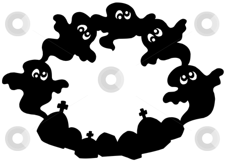 Round frame with ghost silhouette stock vector clipart, Round frame with ghost silhouette - vector illustration. by Klara Viskova