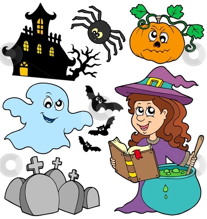 Various Halloween images 5 stock vector clipart, Various Halloween images 5 - vector illustration. by Klara Viskova
