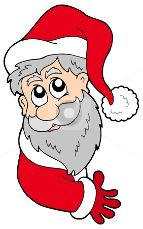Lurking Santa Claus stock vector clipart, Lurking Santa Claus - vector illustration. by Klara Viskova