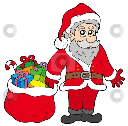 Happy Santa Claus with gifts stock vector clipart, Happy Santa Claus with gifts - vector illustration. by Klara Viskova