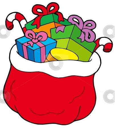 Christmas bag with gifts stock vector clipart, Christmas bag with gifts - vector illustration. by Klara Viskova