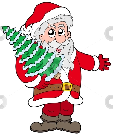 Santa Claus with Christmas tree stock vector clipart, Santa Claus with Christmas tree - vector illustration. by Klara Viskova