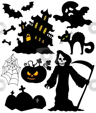 Set of Halloween silhouettes stock vector clipart, Set of Halloween silhouettes - vector illustration. by Klara Viskova