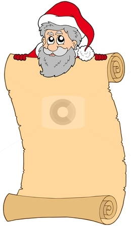 Parchment with Santa Claus stock vector clipart, Parchment with Santa Claus - vector illustration. by Klara Viskova