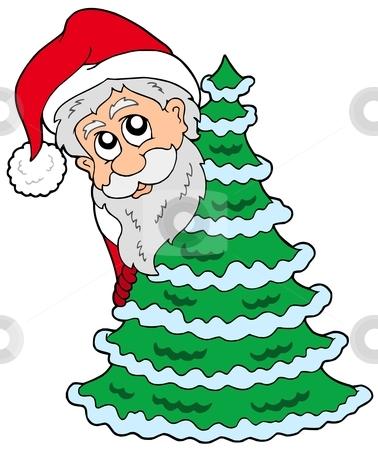 Santa Claus and Chrismas tree stock vector clipart, Santa Claus and Christmas tree - vector illustration. by Klara Viskova