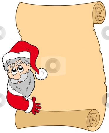 Parchment with lurking Santa Claus stock vector clipart, Parchment with lurking Santa Claus - vector illustration. by Klara Viskova