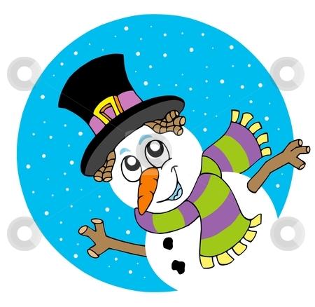 Lurking cartoon snowman stock vector clipart, Lurking cartoon snowman - vector illustration. by Klara Viskova