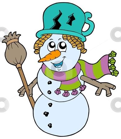 Cute snowman with scarf and broom stock vector clipart, Cute snowman with scarf and broom - vector illustration. by Klara Viskova
