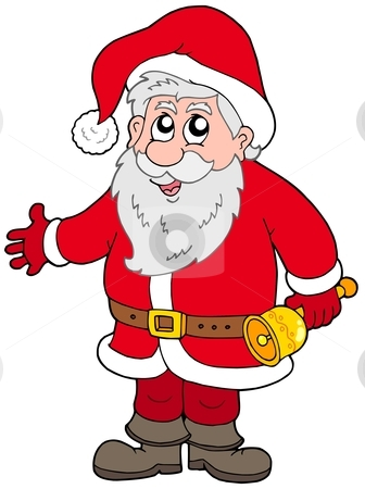 Cute Santa Claus with bell stock vector clipart, Cute Santa Claus with bell - vector illustration. by Klara Viskova