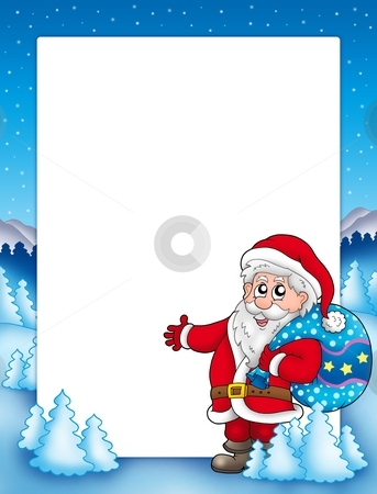 Christmas frame with Santa Claus 1 stock photo, Christmas frame with Santa Claus 1 - color illustration. by Klara Viskova