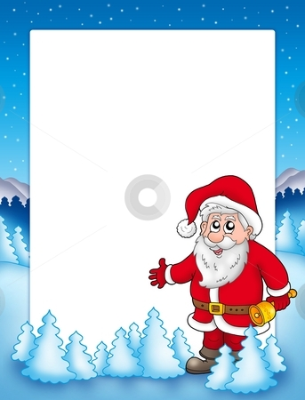 Christmas frame with Santa Claus 3 stock photo, Christmas frame with Santa Claus 3 - color illustration. by Klara Viskova