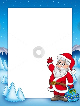 Christmas frame with Santa Claus 2 stock photo, Christmas frame with Santa Claus 2 - color illustration. by Klara Viskova