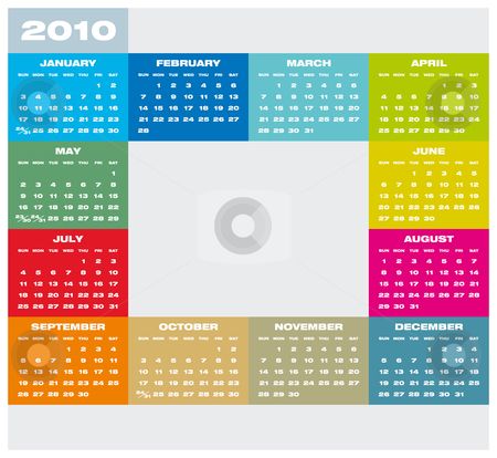 Calendar 2010 stock vector clipart, Colorful Calendar for year 2010 in vector format by Germán Ariel Berra