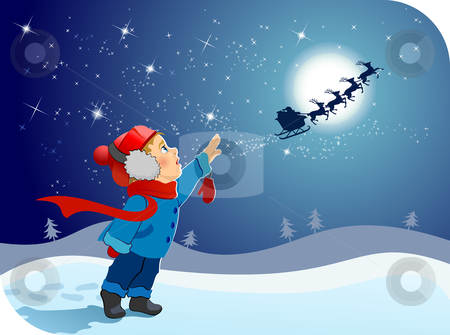 The little boy says goodbye to Santa stock vector clipart,