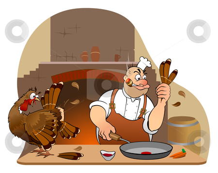 Turkey for Thanksgiving Day stock vector clipart, Already be Thanksgiving Day! And this Chef must quickly fry the turkey, but not everything goes right in the first time! Turkey, chef and background on separate layers for better use. by Paul Malyugin