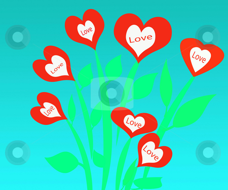Valentine Love Flowers stock photo, Valentine day love flower garden filled with heart shaped flowers by CHERYL LAFOND