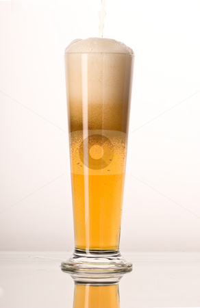 Light beer stock photo, Drink series: fresh beer with white foam by Gennady Kravetsky