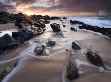 Basham Beach Dawn stock photo, A colorful sunrise over the rocks at Basham Beach near Port Elliott, South Australia by Mike Dawson