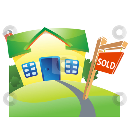 Sold house stock vector clipart, Sold house with garden by Sadik Saidov