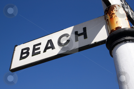 Beach sign and blue sky. stock photo, Beach sign and blue sky. by Stephen Rees