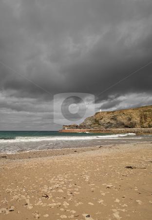Dark clouds over Portreath beach, Cornwall UK. stock photo, Dark clouds over Portreath beach, Cornwall UK. by Stephen Rees