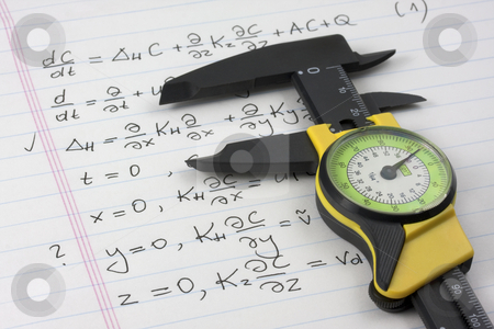 Get a grip on math concept stock photo, Mathematics or physics learning concept - caliper seizing mathematical equations handritten on notebook page by Marek Uliasz
