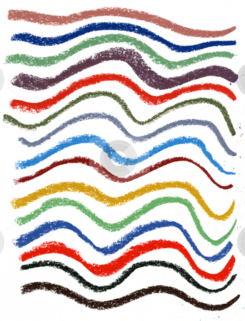 Wavy color  lines with soft pastel crayons stock photo, A set of thick wavy smudged lines of different colors by soft pastel crayons on white drawing paper by Marek Uliasz
