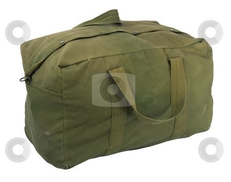Military green canvas duffel bag stock photo, Fully loaded army style green canvas duffel bag, fabric is scratched, stained and faded, isolated on white by Marek Uliasz