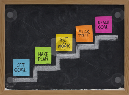 Set and reach goal concept stock photo, Set goal, make plan, work, stick to it, reach concept presented on blackboard with color notes and white chalk by Marek Uliasz