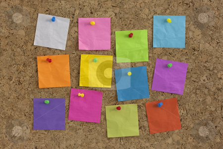 Colorful blank notes on cork board stock photo, Colorful blank notes pinned on cork bulletin board by Marek Uliasz