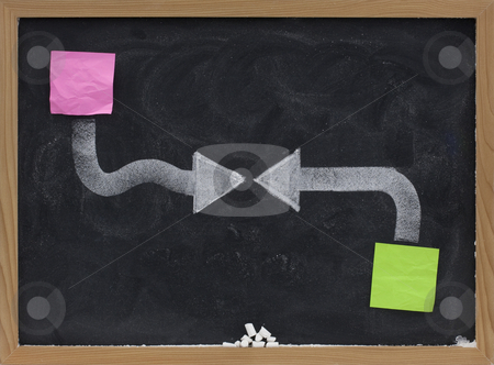 Conflict or confrontation concept stock photo, Confrontation, battle, conflict, clashing of forces or ideas concept presented with two facing white arrows, sticky notes and broken chalk on blackboard by Marek Uliasz