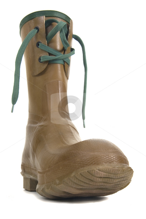 Heavy rubber boot with laces stock photo, Heavy rubber boot with laces on white background, distorted low wide angle perspective by Marek Uliasz
