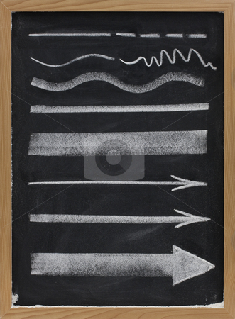 Lines and arrows - white chalk on blackboard stock photo, Design elements, lines and arrows with different thickness, white chalk sketch on blackboard by Marek Uliasz
