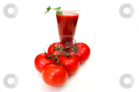 Tomato Juice And Tomatoes stock photo, Tall glass of tomato juice and fresh red tomatoes on a white background by Lynn Bendickson