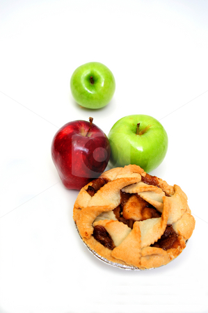 Apples And Apple Pie For One stock photo, Apple pie for one on a white background with 2 green granny smith and one red apple by Lynn Bendickson
