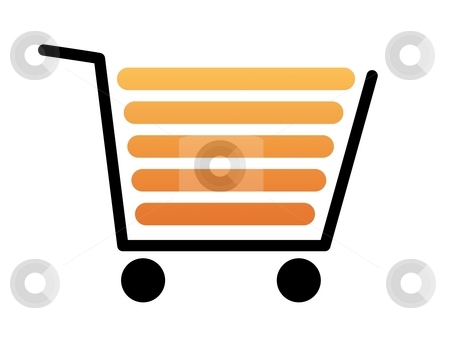 Shopping Cart Black stock photo, Black shopping cart with a white background by Henrik Lehnerer