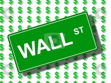 Wall Street stock photo, Green wall street sign in front of dollar icons. by Henrik Lehnerer