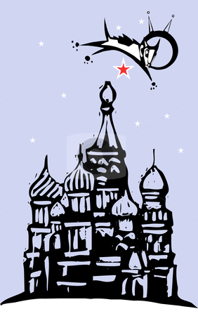 Laika over Red Square stock vector clipart, Laika the cosmonaut dog flying over red square and the Kremlin in Russia. by Jeffrey Thompson