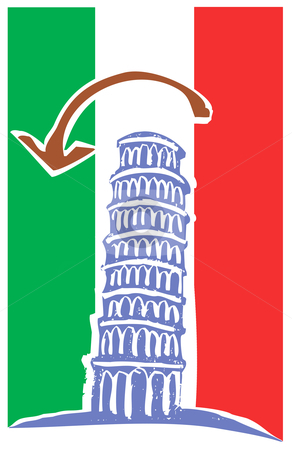 Tower of Pisa and Italian Flag stock vector clipart, Woodcut style illustration of the leaning tower of Pisa Italy. by Jeffrey Thompson