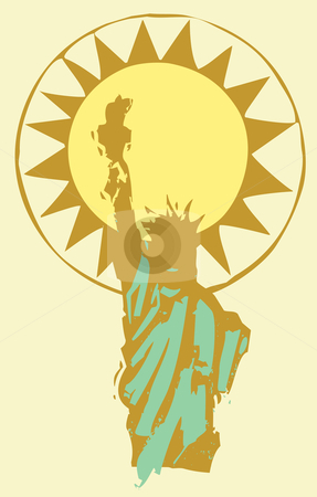 Lady Liberty stock vector clipart, Statue of Liberty in shadow with the sun behind it. by Jeffrey Thompson