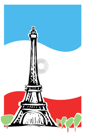 Paris France stock vector clipart, Eiffel tower in Paris France with spring trees and french flag. by Jeffrey Thompson