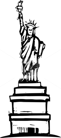 Statue of Liberty stock vector clipart, Woodcut image of the statue of liberty in new york by Jeffrey Thompson