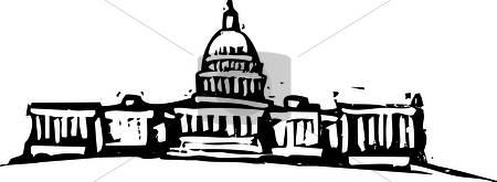 Washington DC Captial stock vector clipart, Black and White woodcut style illustration of the Washington DC Captial building. by Jeffrey Thompson