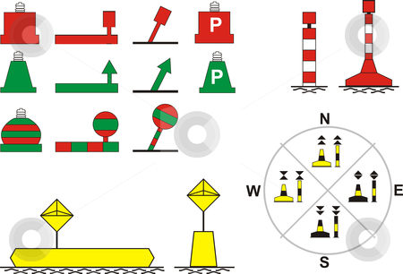 Signs Traffic River Navigation stock vector clipart, Floating buoys, for river navigation, vector illustration by Čerešňák