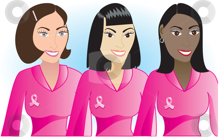 Pink Cancer Women 1 stock vector clipart, Vector Illustration for Breast Cancer awareness month. by Basheera Hassanali